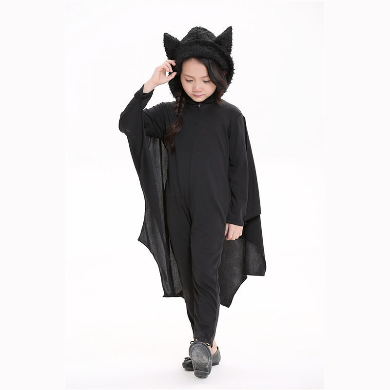 Cute Bat Wings Costume Kids Cosplay Costume Black Outfit Suit Dress New Halloween Party Fancy Costume