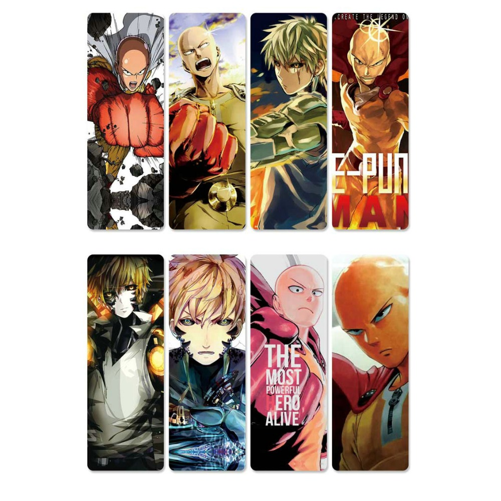 8pcs/sheet ONE PUNCH MAN Anime Bookmark Waterproof Transparent PVC Plastic Bookmarks Colorful Kids Book Marks Cartoon Bookmarker