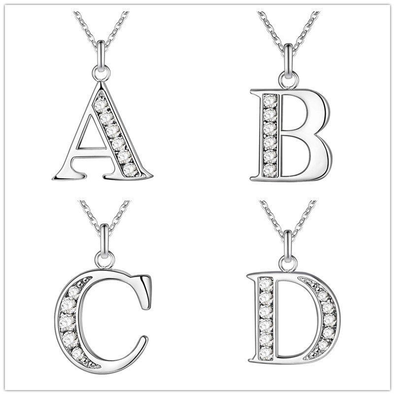 Fashion Silver Letter E pendant Necklace Crystal Initial Letter Necklace Clavicle Chains Valentine's Day Gift
