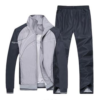 New Men Sets Fashion Autumn Spring Sporting Suit Sweatshirt +Sweatpants Male Sportswear Clothing 2 Pieces Sets Slim Tracksuit