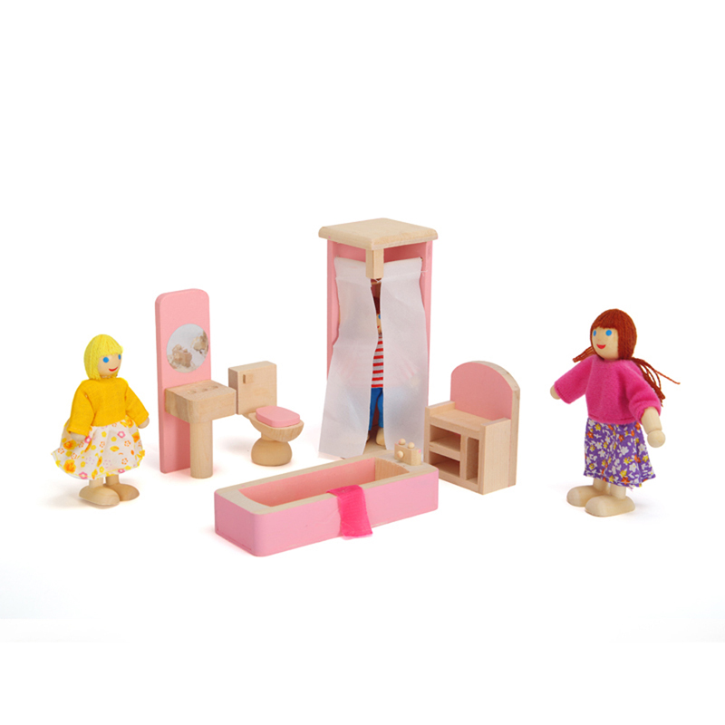 Elegant Pink Color Wooden Doll Bathroom Furniture Toy Doll House Miniature For Kids  Child Play Toy Educational Toy Wooden Toys In Furniture Toys From Toys U0026  Hobbies ...
