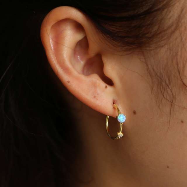 Fashion Gold Color Small Opal Elegant Hoop Earrings Women Simple Round Circle 925 Silver Tiny