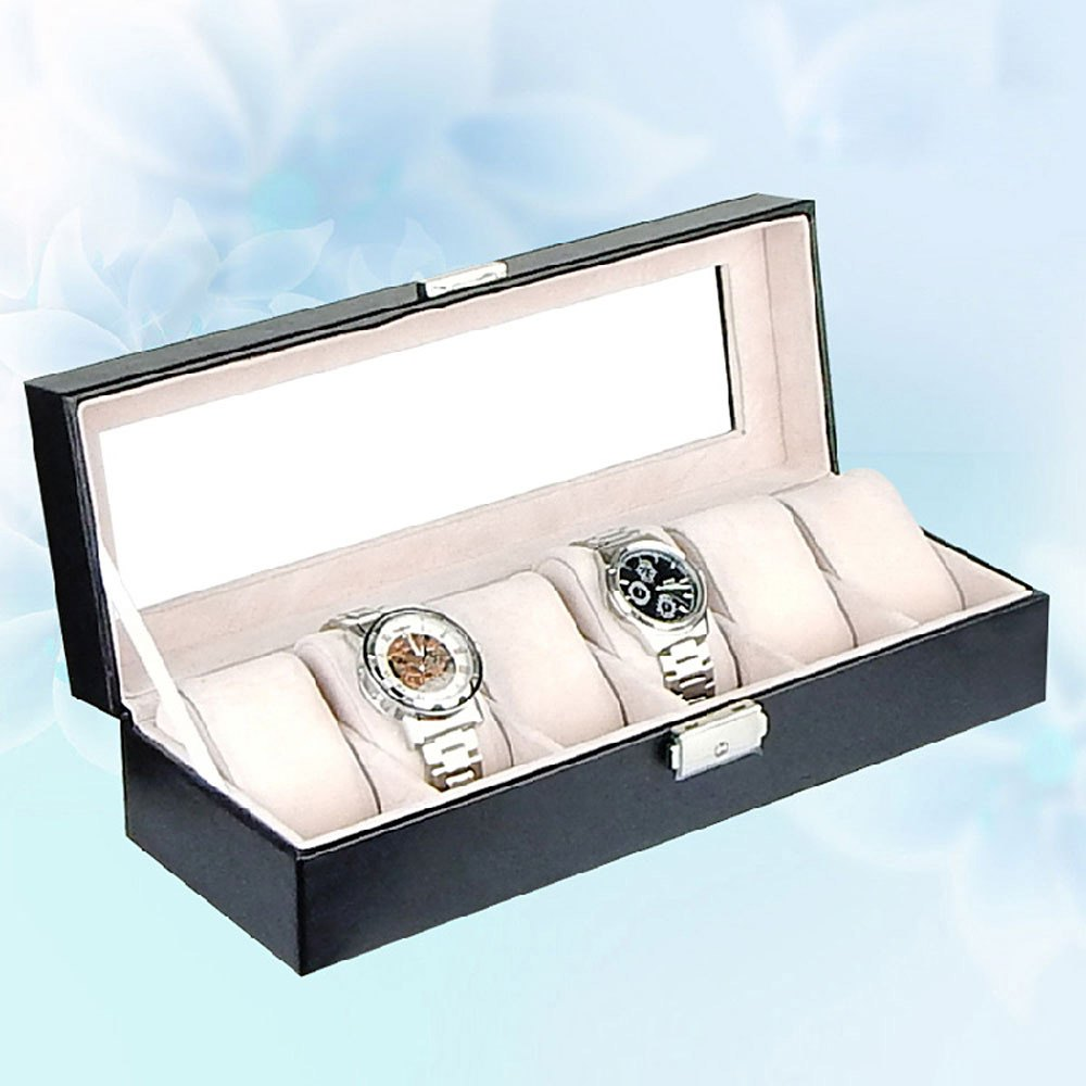 Prix pour Vente chaude 6 Grilles PU Montre En Cuir Boîte à Bijoux De Stockage Boîtier de Montre Montre Afficher Boîte caja reloj