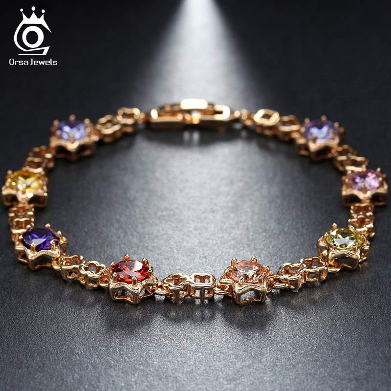 ORSA JEWELS Star Shape Gold-Color Crystal Chain Link Bracelet AAA Austrian Cubic Zirconia Colorful Bracelets for Women OMB12 chain