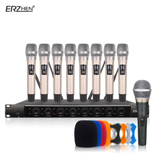 Wireless SystemX-8600 Professional Microphone 8 Channel VHF Professional 8 Handheld Microphone Stage Karaoke Wireless Microphone