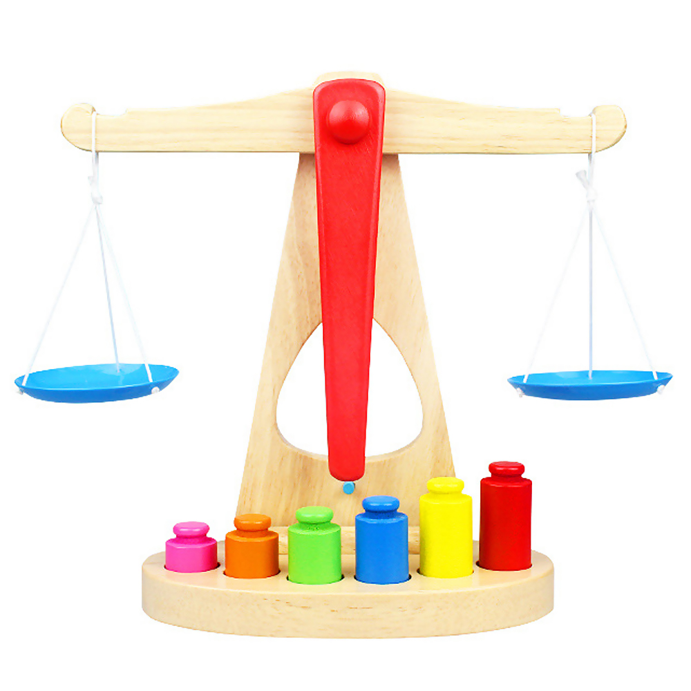 2017 New Arrival Montessori Educational Toy Small Wooden New Balance Scale Toy With 6 Weights For