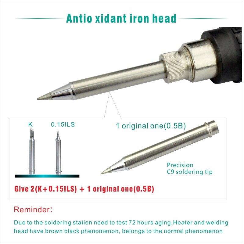 Electric Soldering iron 60W CXG LCD Adjustable Temperature EU plug Welding Solder Station Heat Pencil 2pcs Tips  (11)