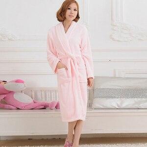Image 3 - 女性男性フランネルバスローブパジャマ2020秋冬固体ぬいぐるみカップルバスローブ厚く暖かい女性ローブドロップシッピングスムース