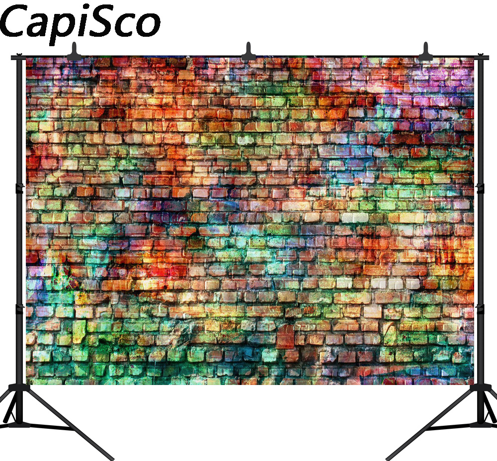 Capisco Colorful Brick Walls Photography Backdrops Children Photo Background Graffiti Brick Wall Doodling Background Picture In Background