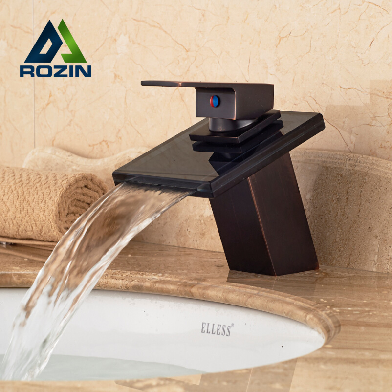 Deck Mount Waterfall Glass Spout Basin Sink Faucet Square Shape Bathroom Vessel Sink Mixer Taps Oil Rubbed Bronze automatic touchless sensor waterfall bathroom sink vessel faucet oil rubbed bronze