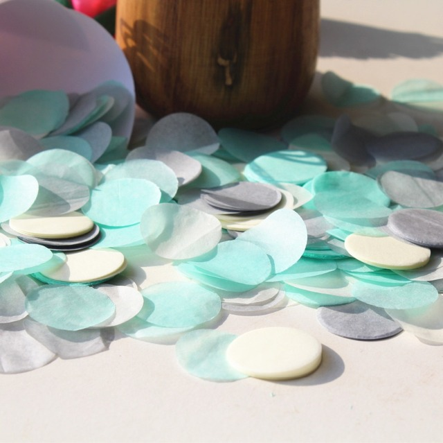 Mint Green Ivory Grey Silver Wedding Party Guests Flower Throwing Circle Confetti Balloon Biodegradable Tissue