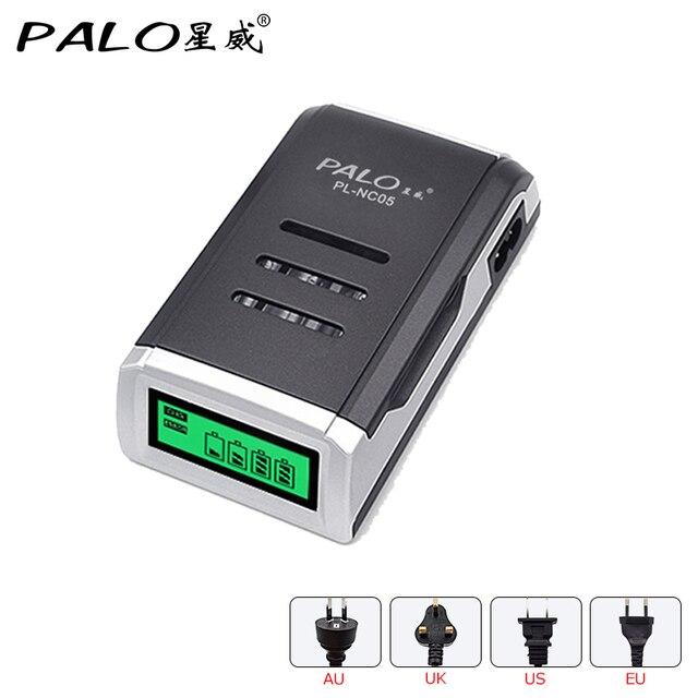 PALO Sạc Đa Năng C905W 4 Khe Cắm Màn Hình LCD Hiển Thị Thông Minh Thông Minh Sạc Pin cho pin AA/AAA NiCD NiMH Pin Sạc