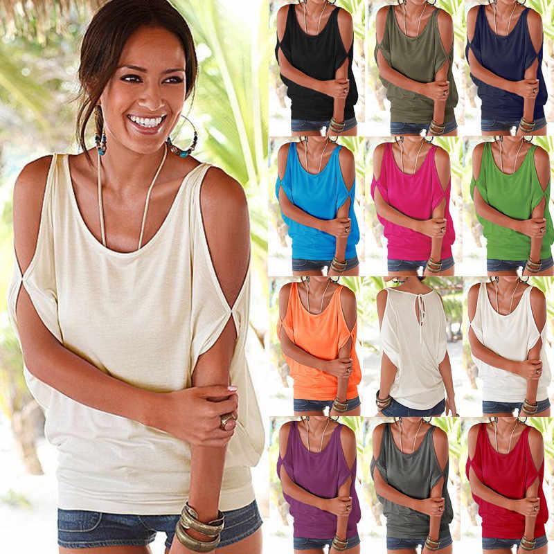 Kobiety bluzki 2019 lato na co dzień Sexy Off ramię bluzka koszula Batwing krótki rękaw koronki up solidna O-neck luźne topy Blusas XXL