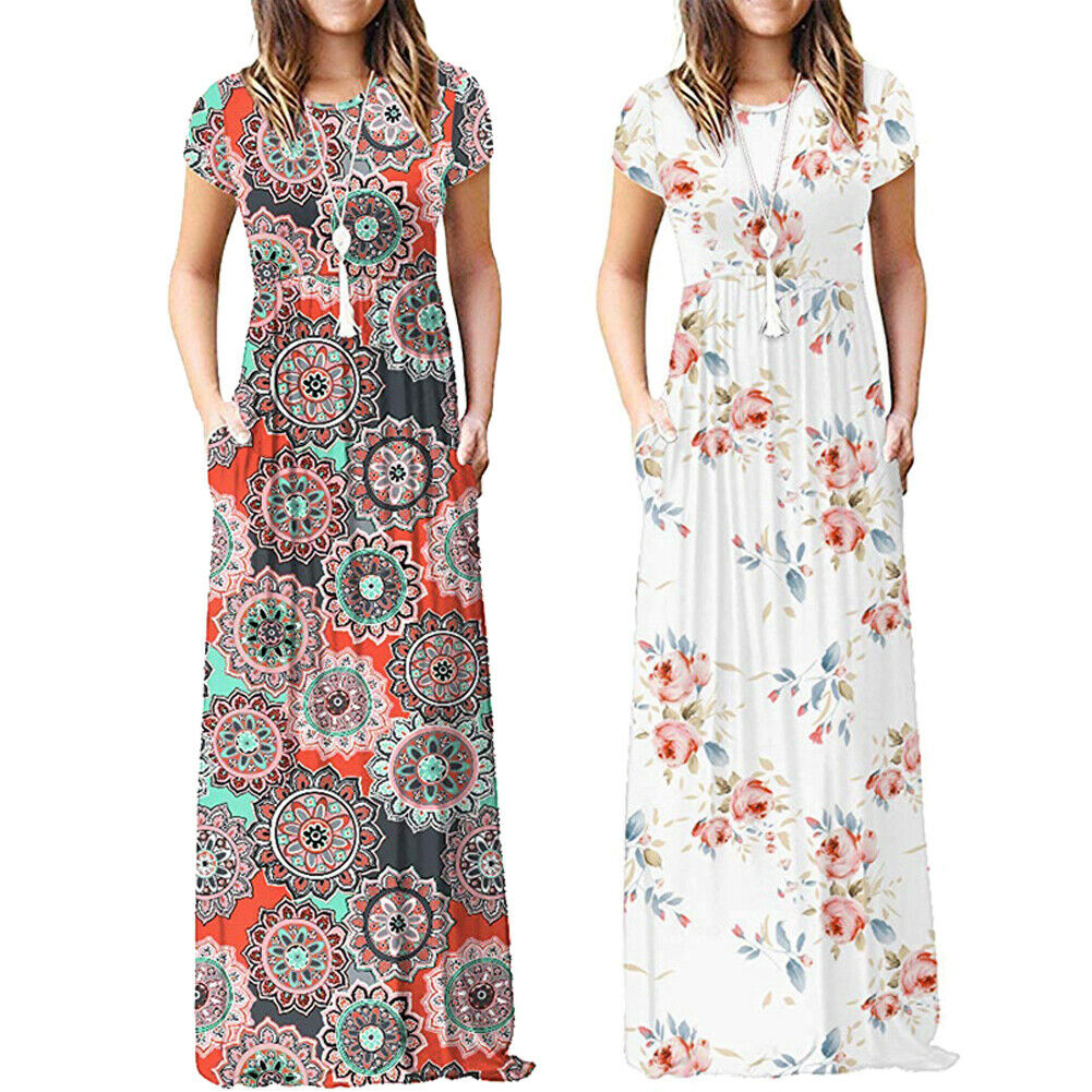 Hirigin BOHO Ladies Floral Jersey Gypsy Long Maxi Dress Summer Beach Sun Dress NEW Спортивный бальный танец