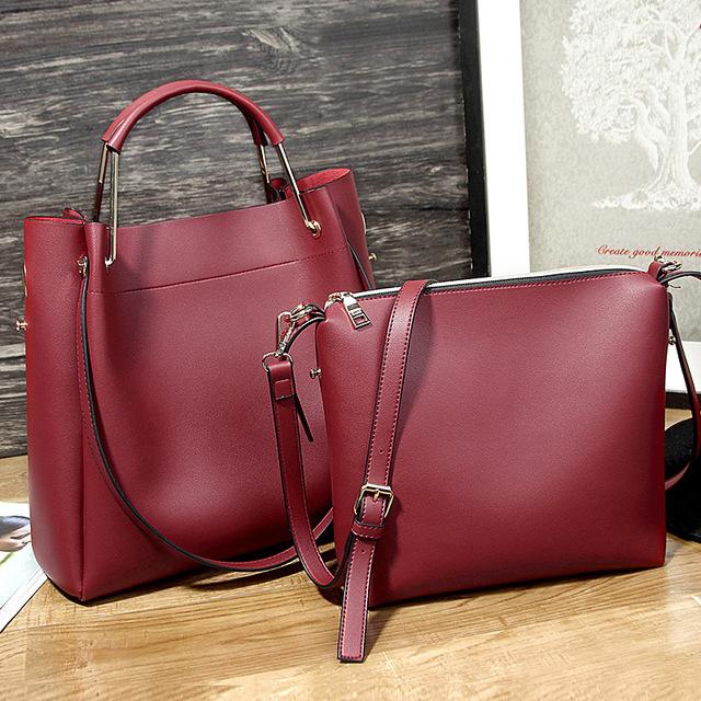 2017 New 2 in 1 Women Handbag Female Korean Satchel Bag Simple Design Fashion Leisure Shoulder Bag Ladies Party Handbags