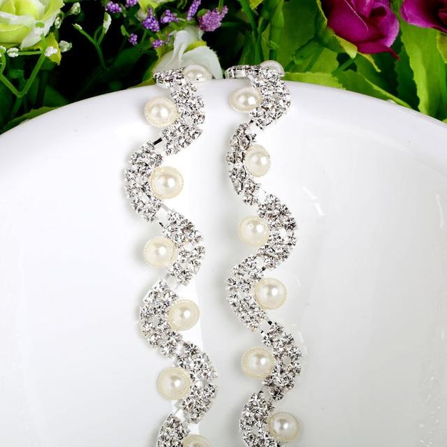 NEW 1Yard Clear Crystal Pearl Rhinestone Cup Chain Bridal Wedding Dress  Decoration Trim Applique Sew on 8d4cdc9d1233