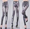 2017 весна и осень бесшовные джинсовые Леггинсы отверстие печать джинсовые брюки девять тонкие джинсы Гетры Boothoses Капри Оптовая