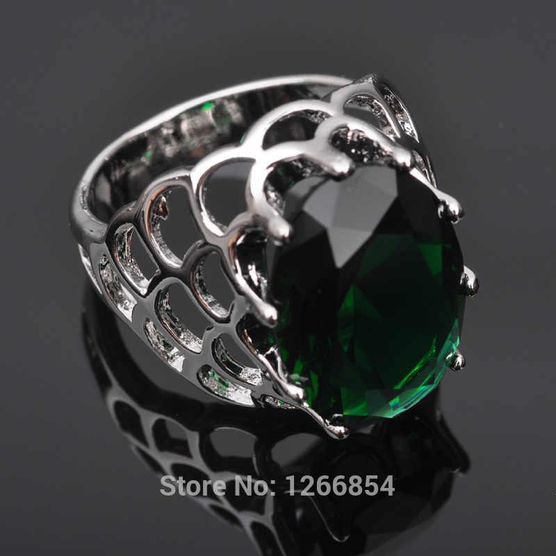 ออกแบบที่ไม่ซ้ำสีเขียวหินCubic Z Irconiaประทับ925เครื่องประดับเงินสเตอร์ลิงแหวนผู้หญิงขนาด6/7/8/9จัดส่งฟรีZ0235
