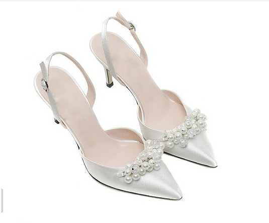 2015 Fashion Women S White Wedding Shoes Pointed Toe Pearl