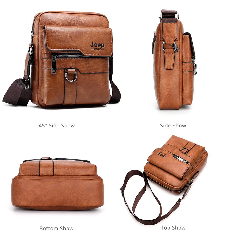 JEEP BULUO Luxury Brand Men Messenger Bags Crossbody Business Casual Handbag Male Spliter Leather Shoulder Bag Large Capacity 17