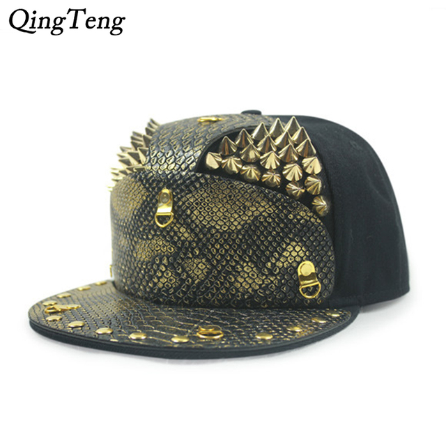 New Snakeskin Armor Golden Rivets Gorras Snapback Hat Male Outdoor Street  Hip-Hop Cap 5 bbb9db653fe