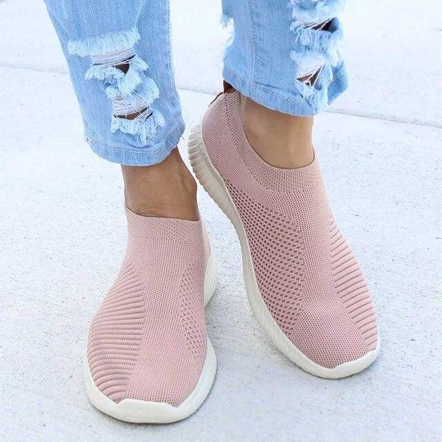 נשים נעלי גופר נעלי אוויר Mesh סניקרס שטוח לנשימה מזדמנים להחליק על גרב נעלי נשי נעלי הליכה בתוספת גודל