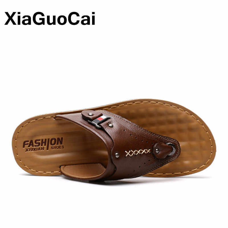 Summer Men Flip Flops Breathable Message Man's Slippers Mules Genuine Leather Thongs Casual Beach Shoes Soft Male Sandals 2019