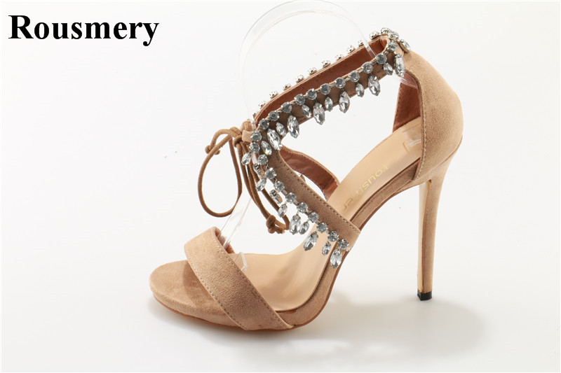 New Fashion Women Open Toe Strap Cross Rhinestone High Heel Sandals Lace-up Nude Suede Leather Crystal Gladiator Sandals все цены