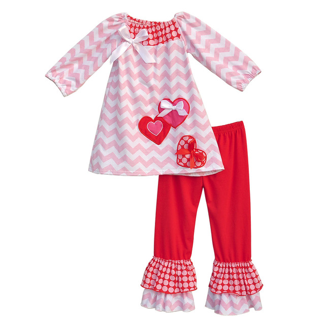 Boutique Remake Kids Clothing Sets Chevron Shirts With Love Heart Shaped Red Ruffle Pants Baby Girls Outfits For Valentine V005
