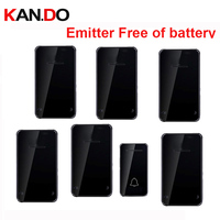 Zwarte kleur Emitter gratis van batterij bell kits 6 RX draadloze deurbel 110-220 V draadloze deurbel ip44 200 M deurbel deur ring