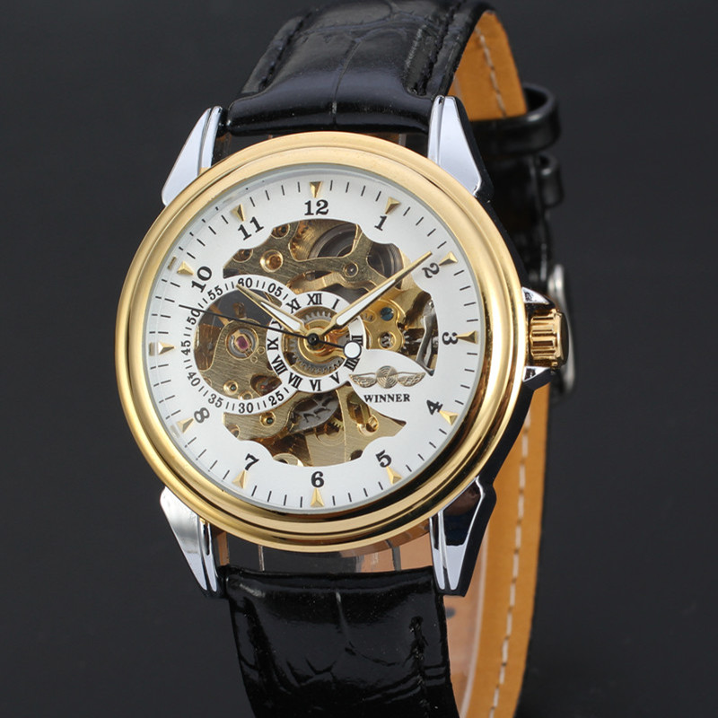 Top Brand WINNER Mens Automatic Skeleton Mechanical Watch Luxury Genuine Leather Casual Sports Men WristWatches Self-Wind ClockTop Brand WINNER Mens Automatic Skeleton Mechanical Watch Luxury Genuine Leather Casual Sports Men WristWatches Self-Wind Clock