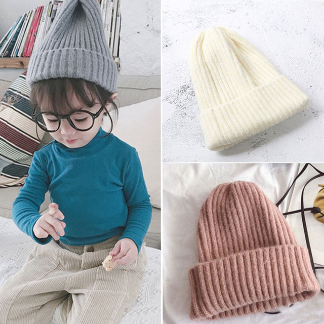 c0ff14bb651 children s knitted wool hat Korean style fashion pure color plate knitted  cap boys girls autumn winter warm hat
