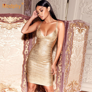 Image 3 - 2020 neue Sommer Gold Verband Kleid Bodycon Vestidos Spaghetti Promi Runway Kleid Sexy Club Kostüm Party Kleid
