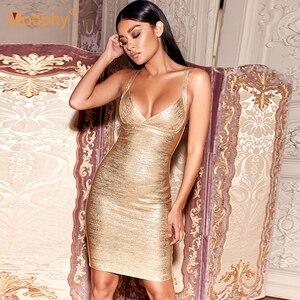 Image 3 - 2020 yeni yaz altın bandaj elbise Bodycon Vestidos spagetti ünlü pist elbise seksi kulübü kostüm partisi elbise