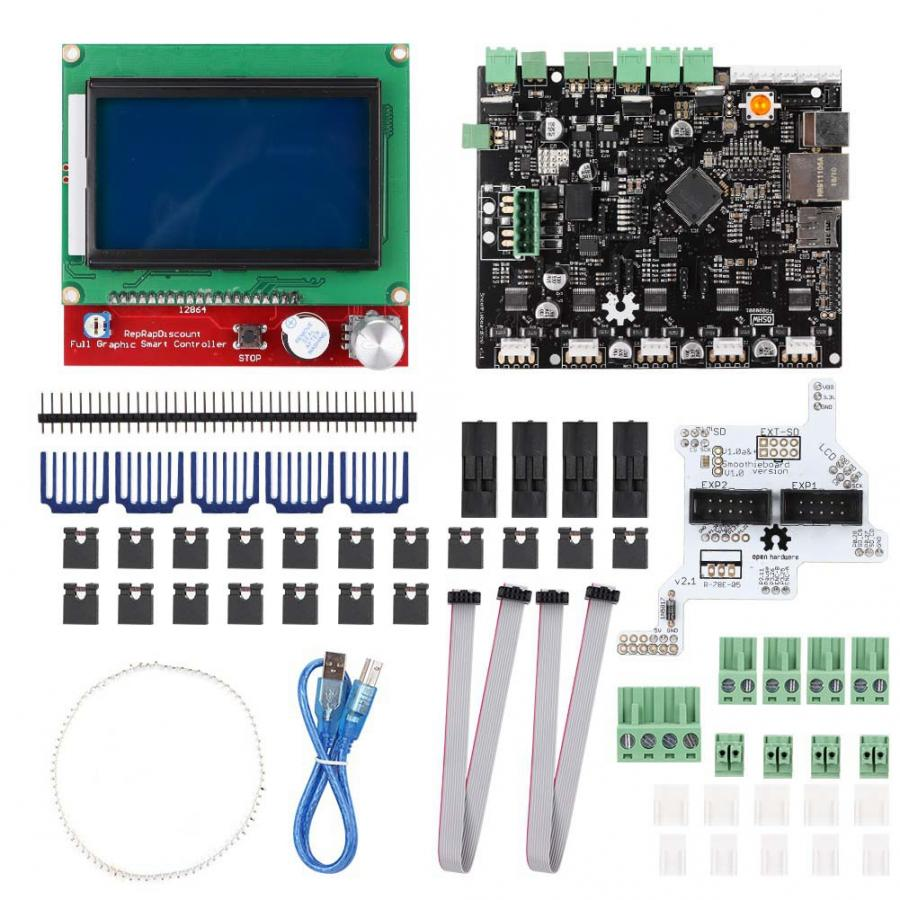 Lcd-Display-Kit 3d-Printer 12864 with Adapter Smoothieboard V1.1 5X title=
