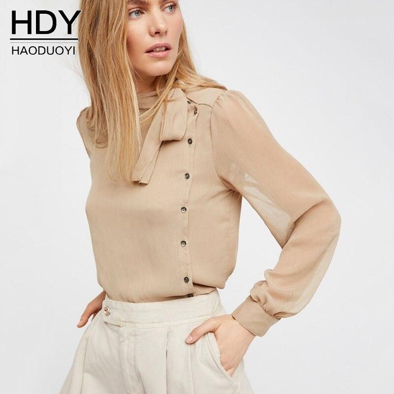 Haoduoyi Woman Bluse 2017 Runway Design New Shirt Women Tops Long Sleeve Office Lady Sheer Button