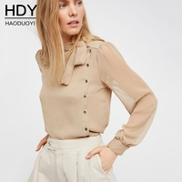 Haoduoyi Woman Bluse 2017 Runway Design New Shirt Women Tops Long Sleeve Office Lady Sheer Button