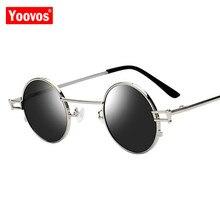 Yoovos 2019 Retro Round Sunglasses Women Men Brand Designer Fashion Steampunk Metal Sun Glasses High Quality Vintage Sunglass