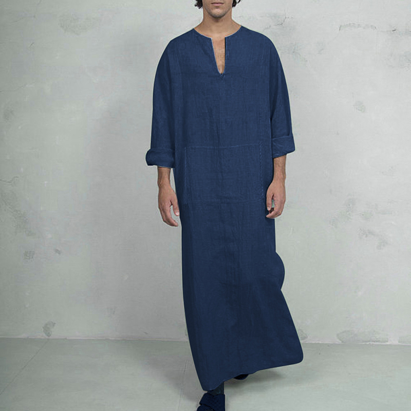 MJARTORIA Men's Casual Comfortable Cotton V-Neck Long Sleeve Side Split Vintage Robes New Muslim Islamic Arab Kaftan Soft Robes
