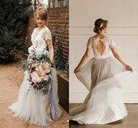 2019 простой богемское свадебное платье для невесты жемчужина кружевное с открытой спиной Линия развертки поезд Свадебные платья в стиле кан