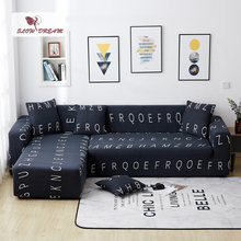 Slowdream Letter Printing Assemble Sofa Cover Anti Dirty Couch Cover Elastic Band Home Seat Slipcover Decor Home Living Room slowdream leaf anti dirty sofa cover decor home seat nordic cape on the sofa stretch elastic couch cover removable slipcover