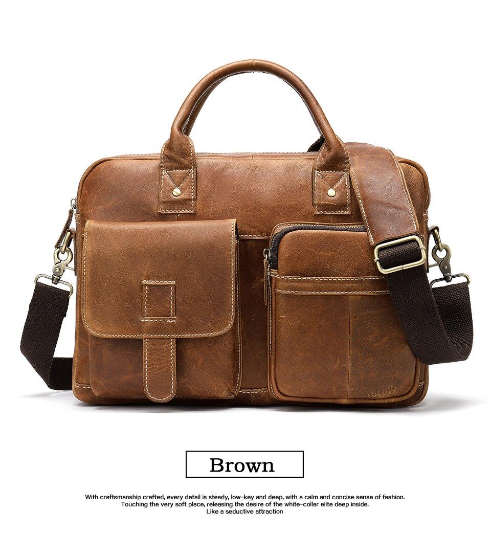 WESTAL men's briefcase bag men's genuine Leather laptop bag office bags for men business porte document briefcase handbag 8503