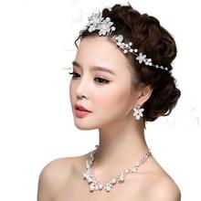 Boda tiara nupcial Hairbands Joyería Para Mujer Joyería de La Vendimia de Cristal Colgante de collar y aretes de Perlas Accesorios de Moda