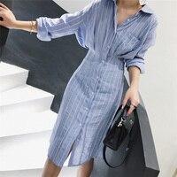 Осеннее женское платье в Корейском стиле, тонкая талия, Полосатое платье-рубашка, длинный рукав, длина до колена, женское элегантное платье ...