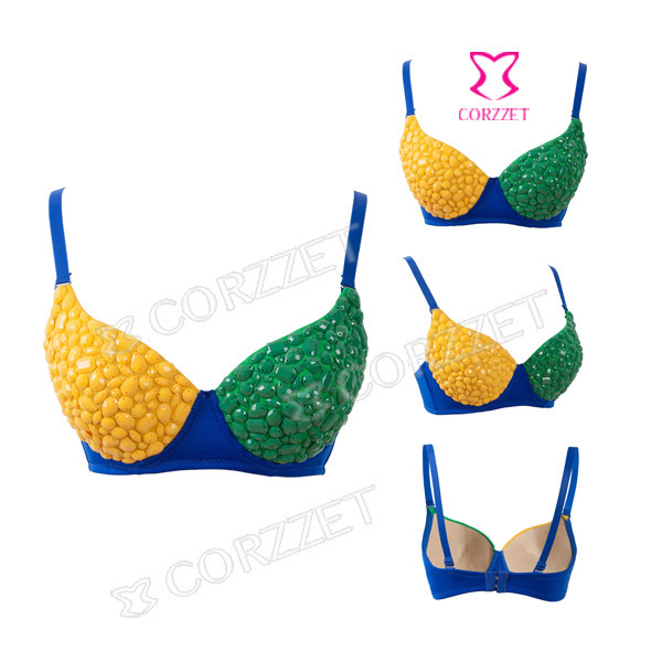 Female Underwear Clubwear Green&Yellow Patchwork Beading Punk Rock Sexy Brassiere Women Bra Push Up Bralette With Spikes B Cup