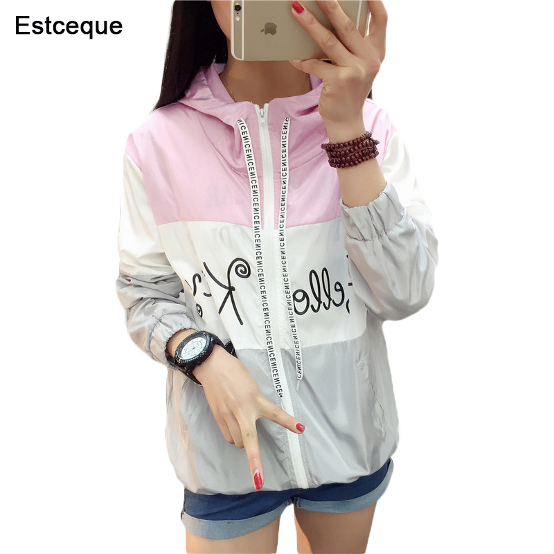 Basic     Jackets   Women 2018 New Fashion Women's Hooded   Jacket   Casual Thin Slim Windbreaker Female Outwear Women Coat Long Sleeve