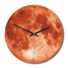 Moon Star Planet Wooden Acrylic Wall Clock Round Home Creative Decor Living Room Digital Circular Clock Watch Self Assembly 1pc