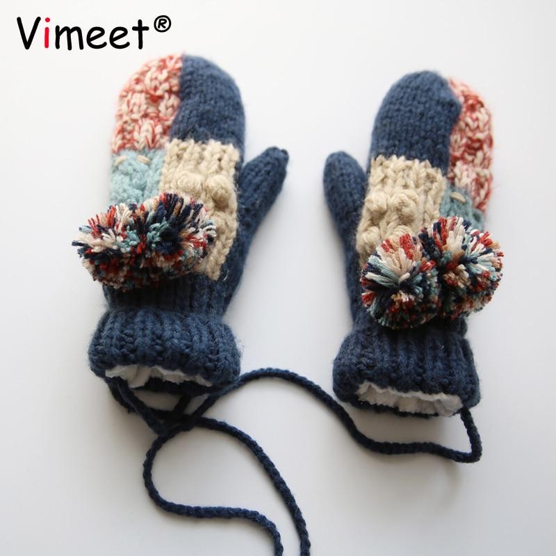 Vimeet D'hiver Dames Tricot Gants En Cachemire Femme Laine Mitaine Gants Doux Femmes Gants VM-G302