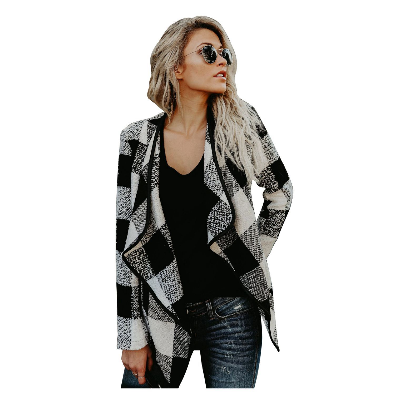 TFGS Winter Cardigan Woolen Blend Coat Women Plaid Coat Long Sleeve Female Overcoat Ladies Jacket Outerwear
