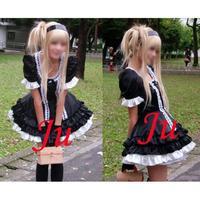Gothic Lolita Punk Satin Sissy Maid Dress Cosplay Costume Tailor made[CK184]